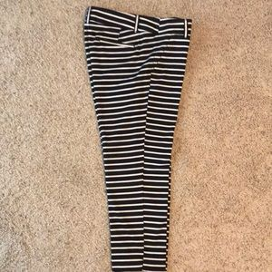 Loft Riviera Black and Cream stripe crop pant